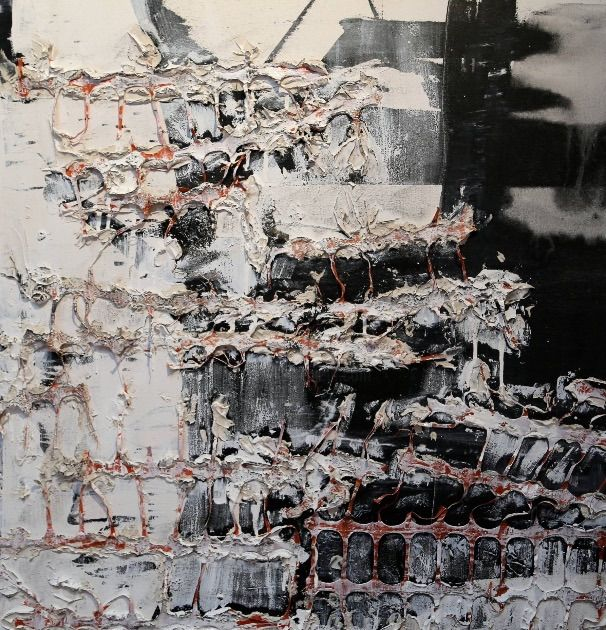"""Painting titled """"Barricading 2"""" by Gayle Sachs, Original Art, Enamel"""