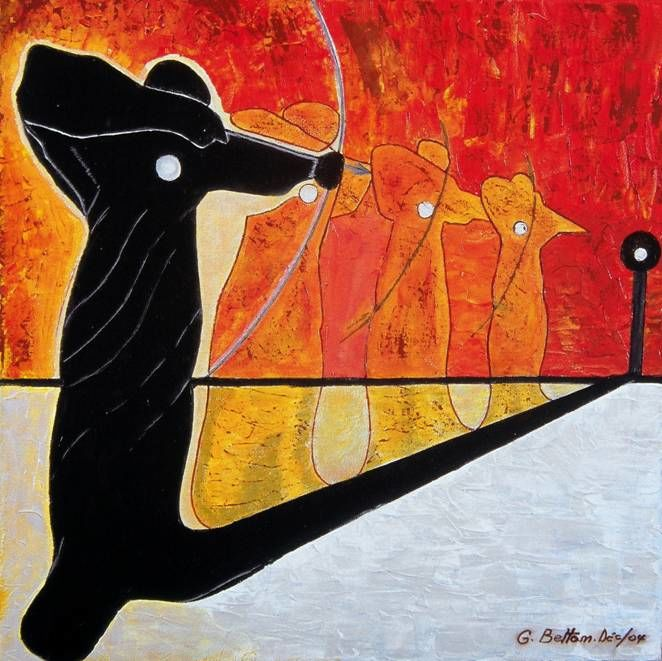 """Painting titled """"Archer"""" by Georges Bettan, Original Art, Acrylic"""