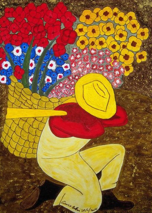 """Painting titled """"Florist"""" by Georges Bettan, Original Art, Acrylic"""