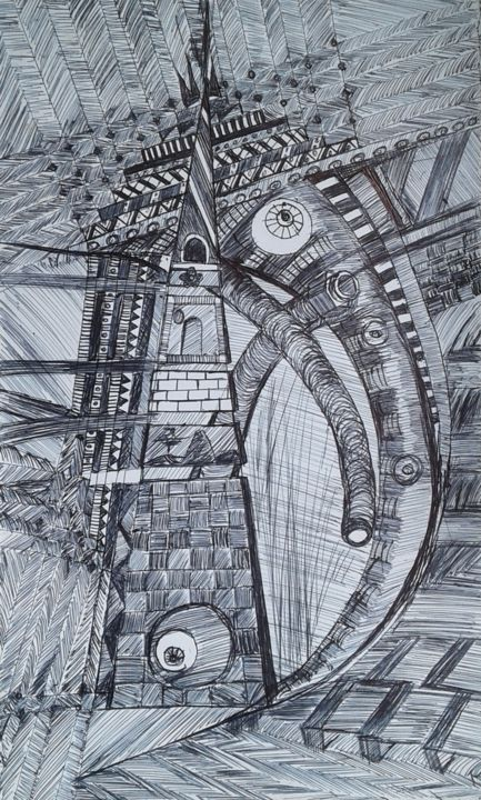 The home in the dream - Drawing,  24x12x0.1 cm ©2019 by Deela -                                                                                            Abstract Art, Cubism, Expressionism, Illustration, Abstract Art, Architecture, architecture, expression, dream, stability, African designs, brickcraft, basketcraft