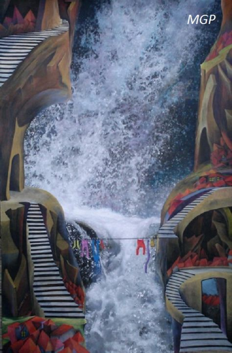 Daily Chores - Mixed Media,  36x24 in ©2014 by Marta Goebel-Pietrasz -                                                            Contemporary painting, Paper, Landscape, landscape, surrealism, chores, mountains, water