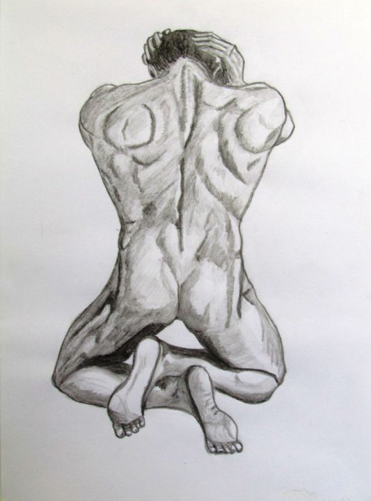 Homme A Genoux De Dos Drawing By Gelie Artmajeur