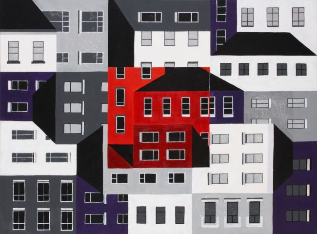 Town Square - Painting,  122x91 cm ©2011 by Gemma Detti -                        Contemporary painting