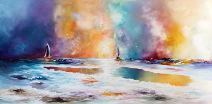 Fantasy Sailing - Painting,  27.6x1.6x55.1 in, ©2014 by Gena -                                                                                                                                                                                                                          Abstract, abstract-570, Abstract Art, fantasy