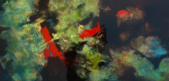 Oiseaux rouges - Peinture,  12x24x1,6 in, ©2021 par Geneviève Bard (BARD) -                                                                                                                          Abstract, abstract-570
