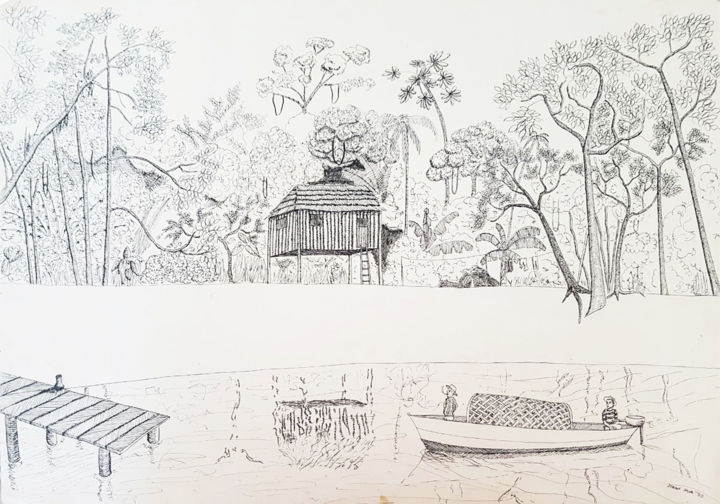 Forest - Drawing,  11.8x15.8 in, ©1993 by George Avis -                                                                                                          Landscape, Tree