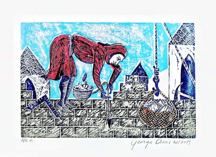 Medieval Mason (1rst version) - Printmaking,  11x15 in, ©2019 by George Avis -                                                                                                                                                                                                                                                                  Naive Art, naive-art-948, Architecture, Cities, Spirituality