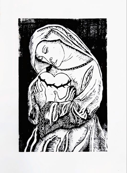 Mater Sanctissima - Printmaking,  16.1x11.8 in, ©2019 by George Avis -