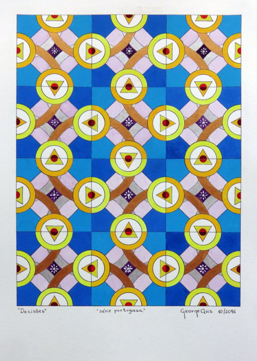 Decisões - Painting,  19.7x13.6 in, ©2016 by George Avis -                                                                                                                                                                                                                                                                                                                                                                                                                                                                                                                                              Abstract, abstract-570, Architecture, Abstract Art, Cities, Colors, World Culture, tiles, azulejos, azulejos portugueses, azulejos orientais