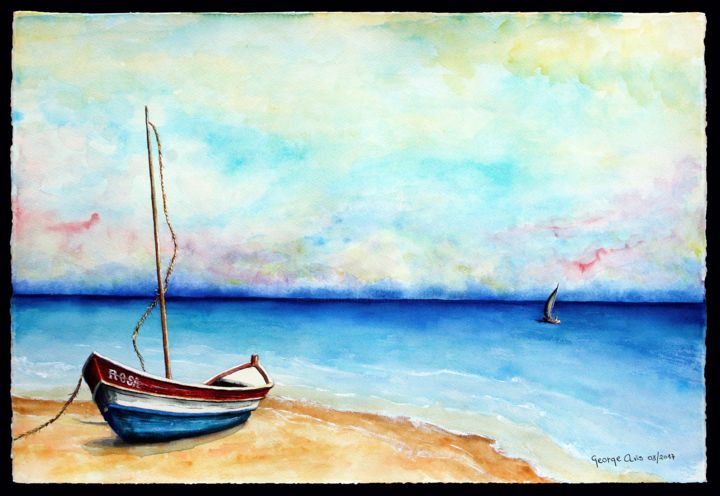Rosa (landscape marine) - Painting,  15.1x22.2 in, ©2017 by George Avis -                                                                                                                                                                                                                                                                  Figurative, figurative-594, Boat, Sailboat, Seascape