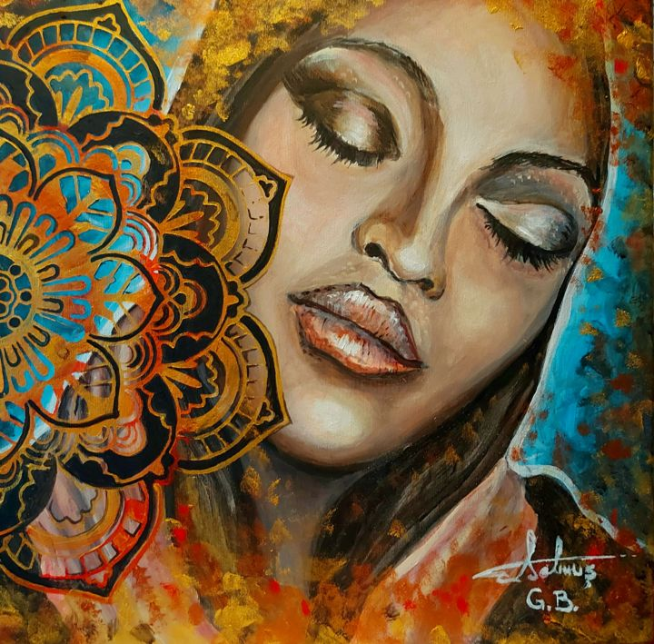 """Painting titled """"Nubian Chic"""" by George Balmus, Original Art, Acrylic Mounted on Wood Panel"""
