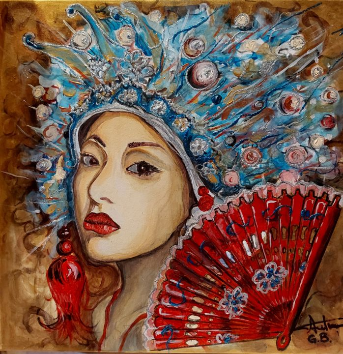 """Painting titled """"Mysterious Geisha"""" by George Balmus, Original Art, Acrylic Mounted on Wood Panel"""