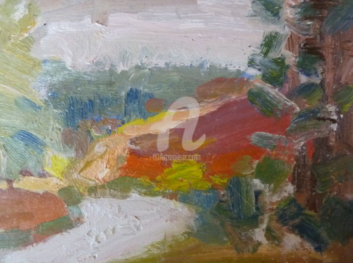 Path at Hankley in the Autumn 12 - Painting,  6x8 in, ©2017 by Georgina Rey -