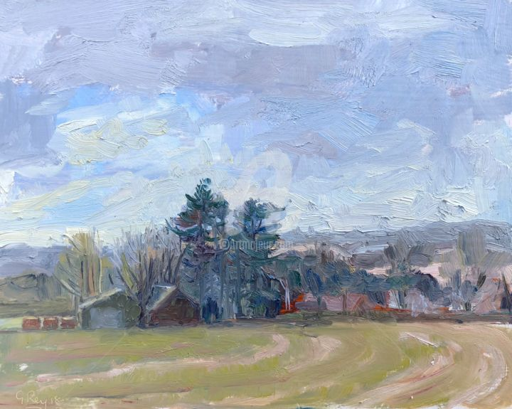 Farm at Binsted in Winter 25 - Painting,  9x12 in ©2018 by Georgina Rey -                        Landscape