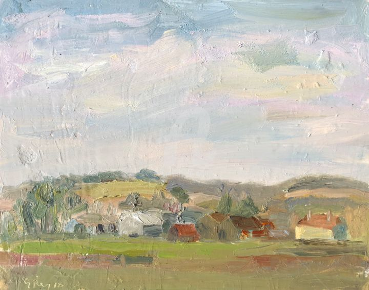 Farm buildings Wyck, Hampshire, (49) - Painting,  6x8 in ©2018 by Georgina Rey -                                                        Abstract Expressionism, Other, Landscape