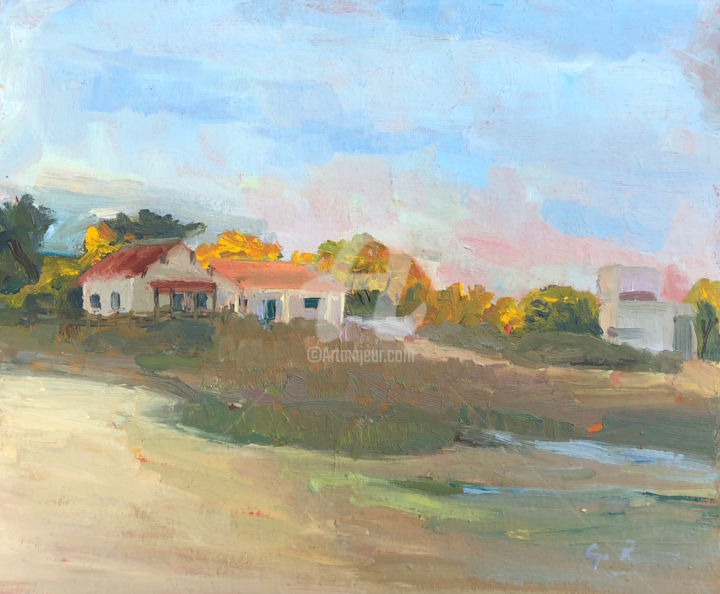 Beach Huts, Armona, Portugal 20 - Painting,  9x12 in ©2018 by Georgina Rey -