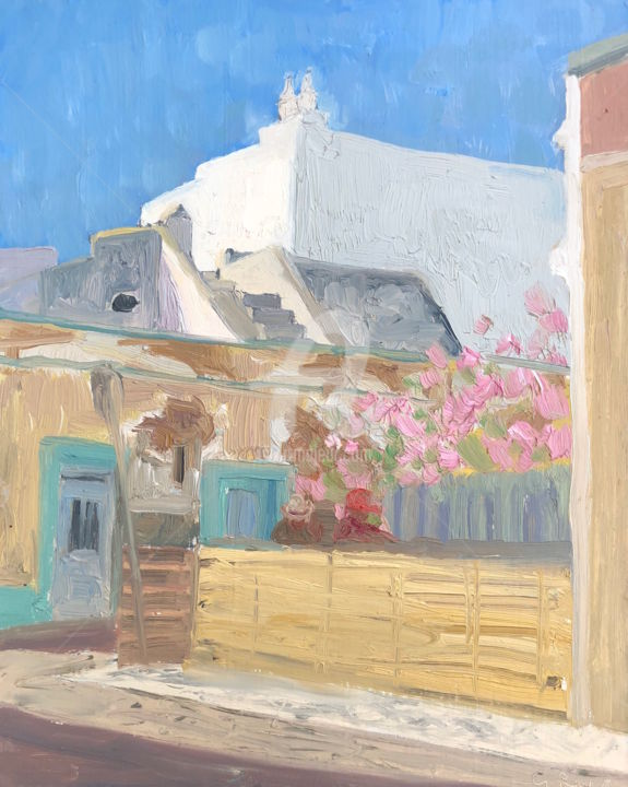White Houses, Olhao, Portugal 23 - Painting,  9x12 in ©2018 by Georgina Rey -