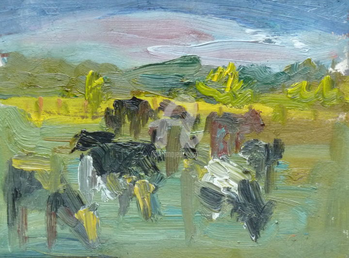 Cows - Painting,  6x8 in, ©2017 by Georgina Rey -