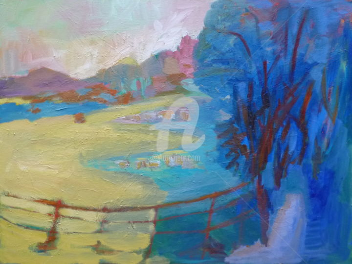 Sheep by the River, Bentley - Painting,  35.4x48x1.2 in, ©2019 by Georgina Rey -