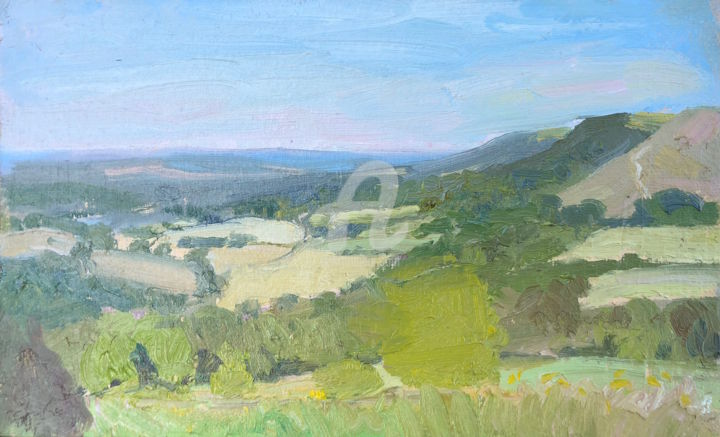 View from Hen Hill - Painting,  6x9.5 in ©2018 by Georgina Rey -                        Abstract Art