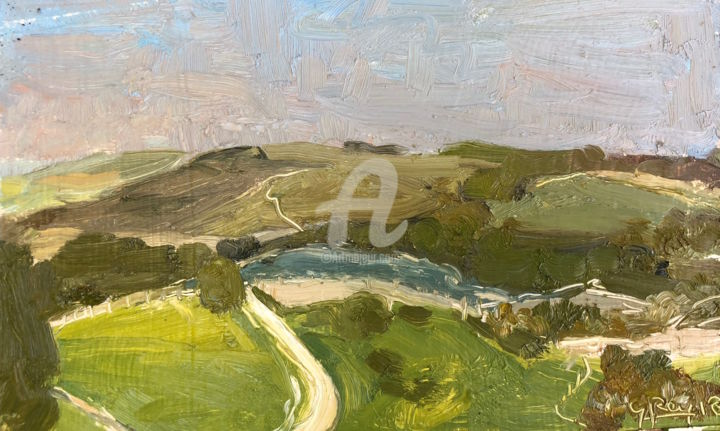 Beacon Hill, South Downs - Painting,  6x9.5 in ©2018 by Georgina Rey -                                        Contemporary painting, Landscape