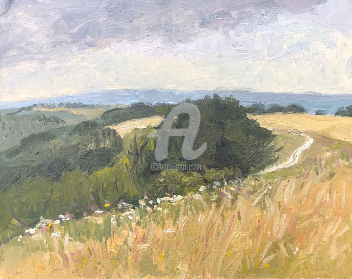 Beacon Hill looking South Sitting in th Long Grass - Painting,  9x12 in ©20 by Georgina Rey -                                                        Contemporary painting, Other, Landscape