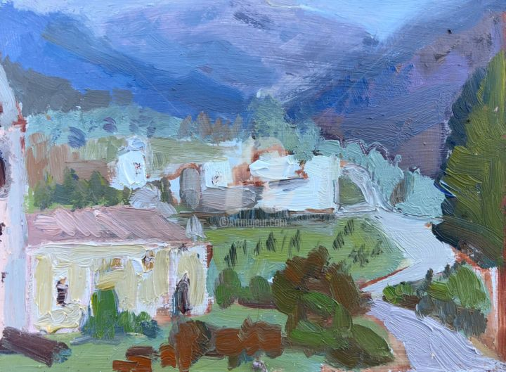 Church and Olive Groves, Licciana Nardi, Tuscany - © 2018 colour, expressionism, bonnard Online Artworks