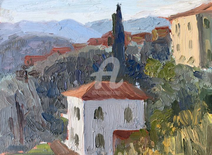 White House Solaro, Tuscany - Painting,  6x8 in ©2018 by Georgina Rey -                                                        Abstract Art, Other, Landscape