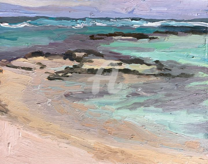 Rock Pools TDD - Painting,  9x12 in ©2018 by Georgina Rey -                                        Contemporary painting, Seascape