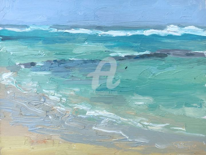 Sea Study, High Tide, Mauritius - Painting,  6x8 in ©2018 by Georgina Rey -                        Seascape
