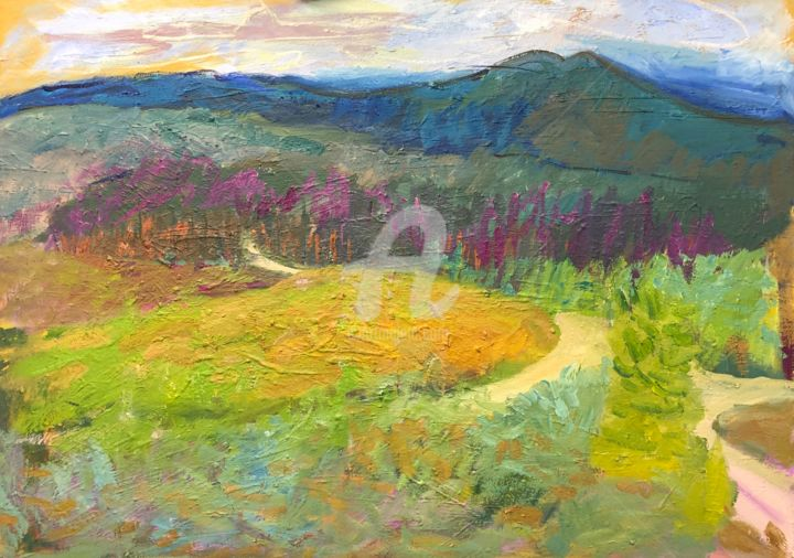 Path at Hankley from the Ridge - Painting,  90x120 cm ©2018 by Georgina Rey -                                                        Conceptual Art, Canvas, Landscape