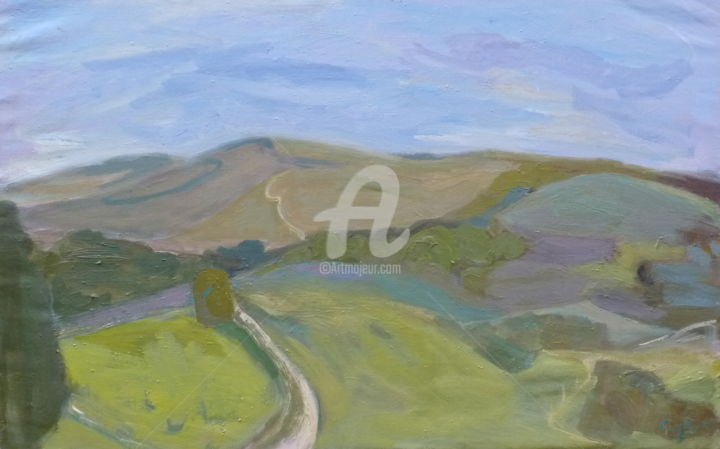 On Top of Beacon Hill, Harting Down - Painting,  23.6x47.2 in, ©2018 by Georgina Rey -                                                                                                                                                                          Expressionism, expressionism-591, Landscape