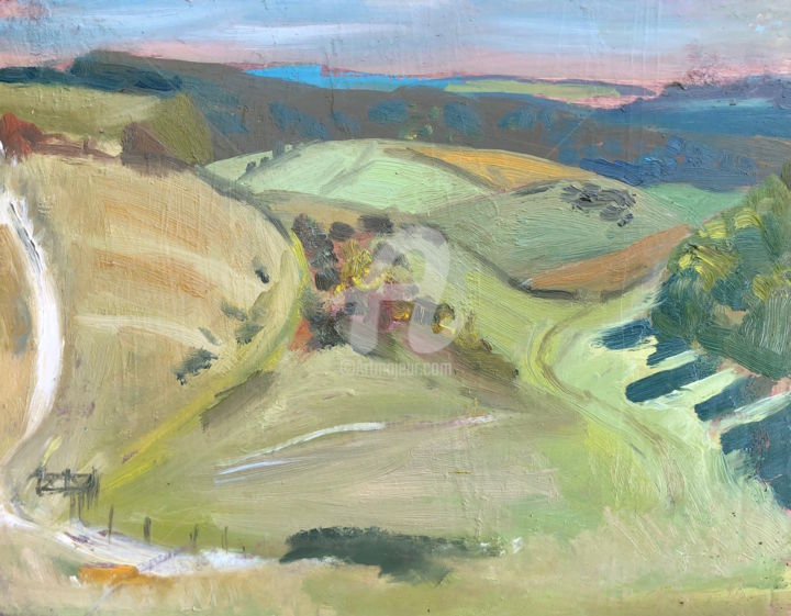 Hen Hill, Woman in Landscape - Painting,  6x8 in ©2018 by Georgina Rey -