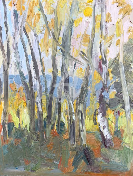 Silver Birches, Hankley - Painting,  10x8 in, ©2019 by Georgina Rey -                                                              Landscape