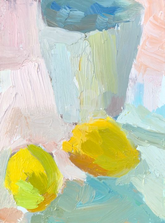 Lemons and Cup - Painting,  8x6 in, ©2019 by Georgina Rey -
