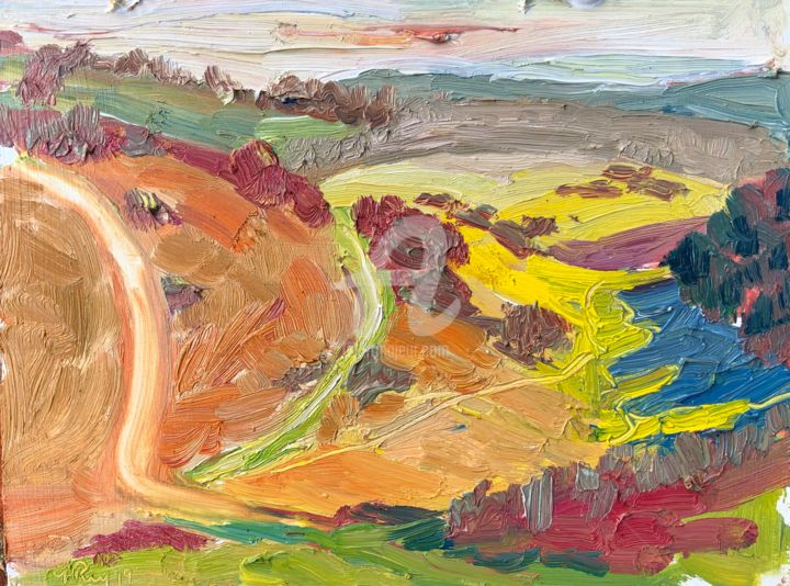 Colour in the Landscape - Painting,  6x8 in, ©2019 by Georgina Rey -                                                                                                                                                                          Abstract, abstract-570, Landscape