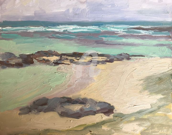 Little Bay, TDD, Mu - Painting,  9x12 in, ©2018 by Georgina Rey -                                                                                                                                                                          Classicism, classicism-933, Seascape