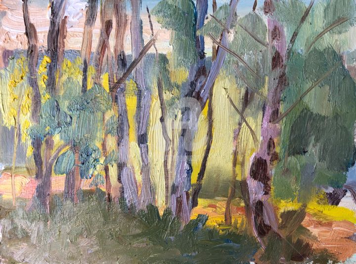Backlit Birches, Hankely - Painting,  6x8 in ©2019 by Georgina Rey -