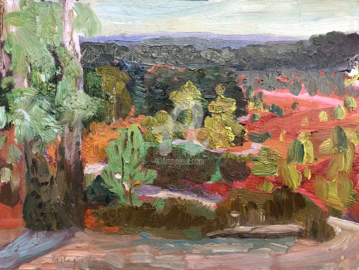 Path and Heather - Painting,  6x8 in, ©2018 by Georgina Rey -