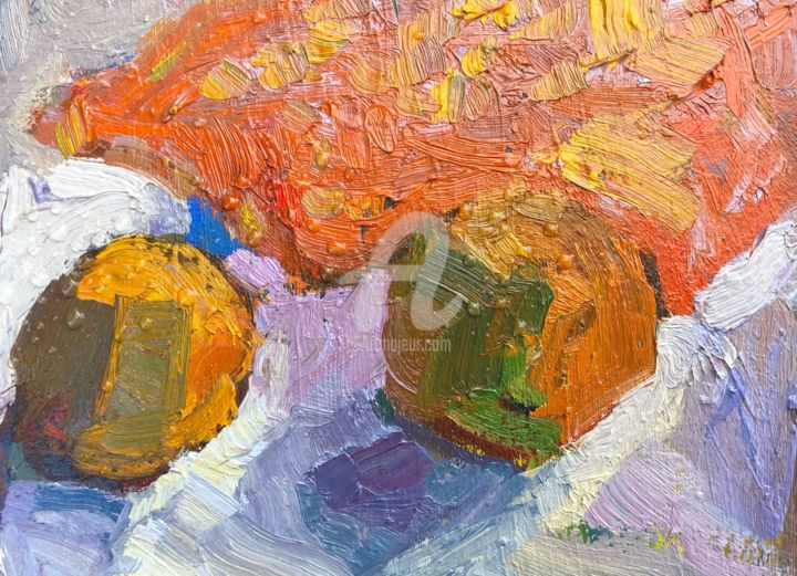 Still life with oranges - Painting,  6x8 in, ©2019 by Georgina Rey -