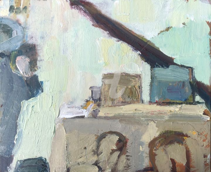 Angela in the Studio - Painting,  8x10 in, ©2019 by Georgina Rey -                                                              Interiors