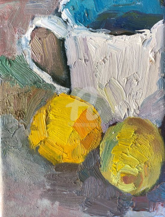 Lemons and turquoise cup - Painting,  8x6 in, ©2019 by Georgina Rey -                                                              Still life