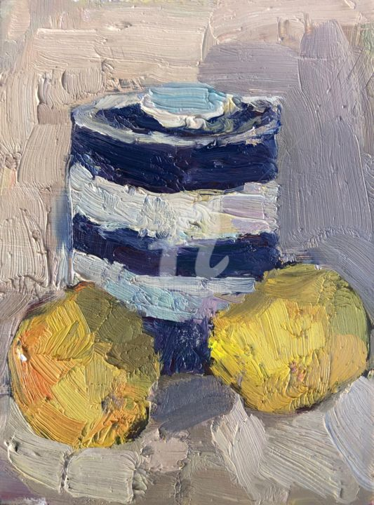 Blue and white stripey jar - Painting,  8x6 in, ©2019 by Georgina Rey -                                                                                                                                                                          Expressionism, expressionism-591, Still life