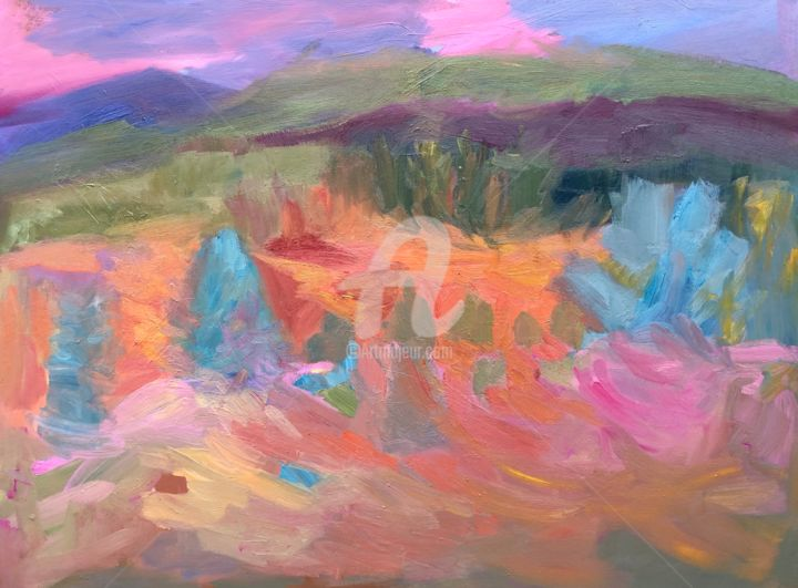 Hankley Bowl - Painting,  39.4x47.2x2 in, ©2020 by Georgina Rey -                                                                                                                                                                          Expressionism, expressionism-591, Landscape