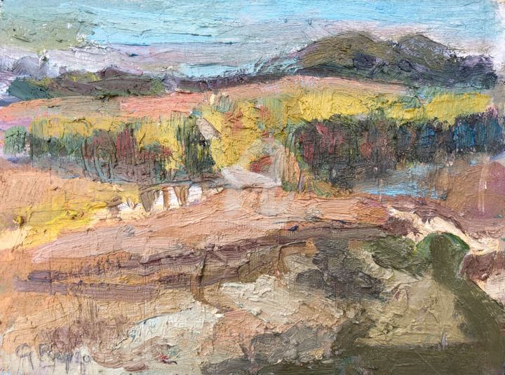 Little Forest from on top of the Hill, small - Painting,  6x8 in, ©2020 by Georgina Rey -                                                                                                                                                                          Expressionism, expressionism-591, Landscape