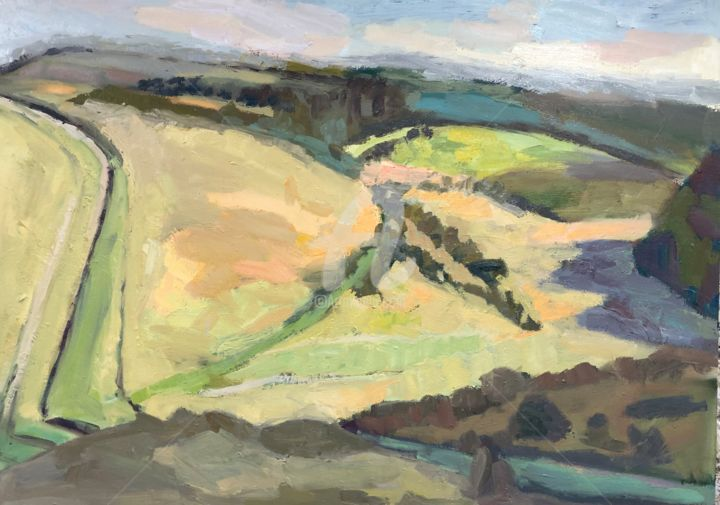 Little Valley South Downs - Painting,  31.5x39.4x2 in, ©2019 by Georgina Rey -                                                                                                                                                                          Expressionism, expressionism-591, Landscape