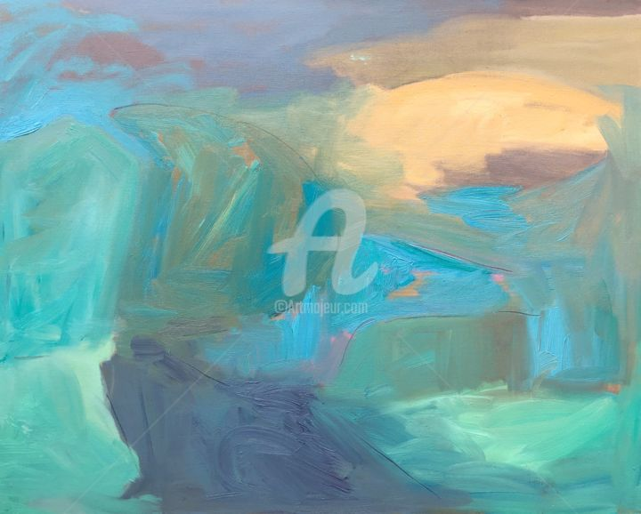 Forever - Painting,  31.5x39.4x2 in, ©2020 by Georgina Rey -                                                                                                                                                                          Abstract, abstract-570, Landscape