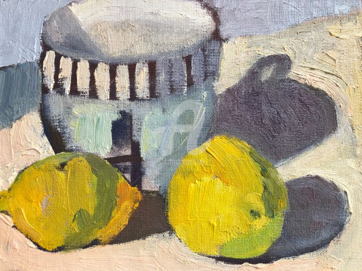 Cup and lemons 1 - Painting,  6x8 in, ©2020 by Georgina Rey -                                                                                                                                                                          Expressionism, expressionism-591, Still life