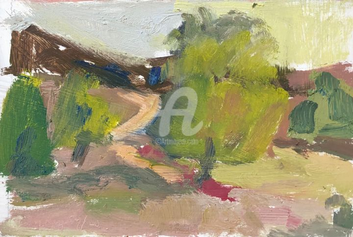 Pink Heather - Painting,  6x8 in, ©2020 by Georgina Rey -                                                                                                                                                                          Abstract, abstract-570, Landscape
