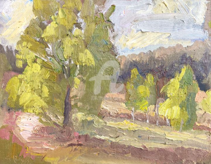 Birches - Painting,  6x8 in, ©2020 by Georgina Rey -